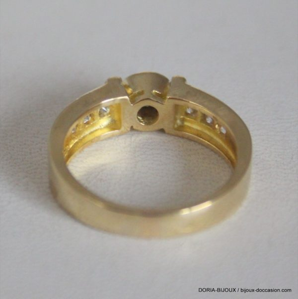 Bague Or 18k 750 Fantaisie Diamants - 6.4grs-  54