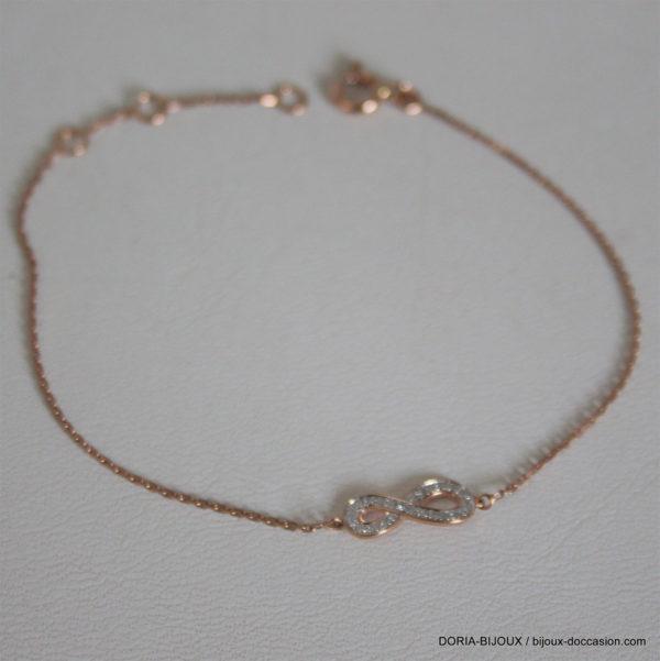 Bracelet Infini Or Rose 18k 750 Diamants.0.024ct