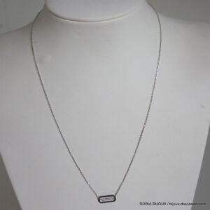 Collier or gris 18k pendentif diamant - 2.15 grs