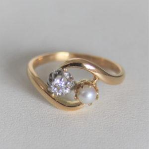 Bague Vintage Or 18k 750 Perle Diamant - 3.1grs- 53