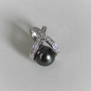 Pendentif Or Gris 750 Perle De Tahiti  &  Diamants -