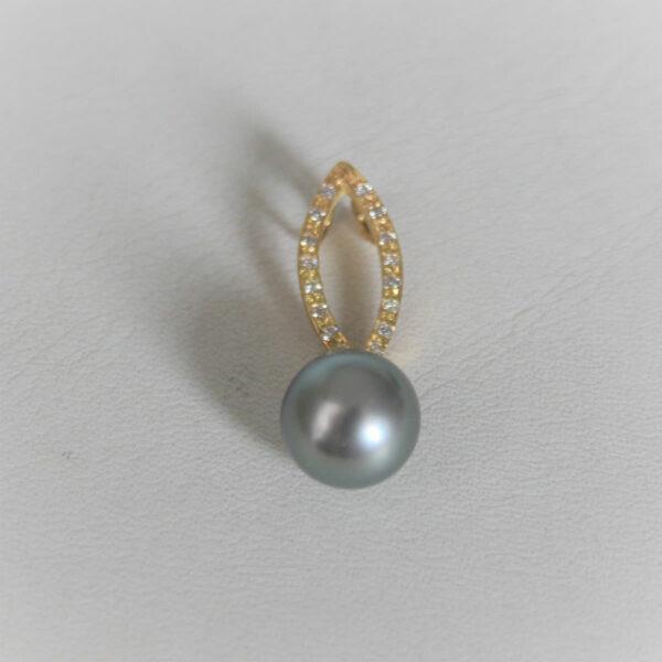 Pendentif Or 18k 750 Perle de Tahiti & Diamants