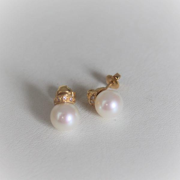 Boucles d'Oreilles Or 750 Perles de Culture&Diamants