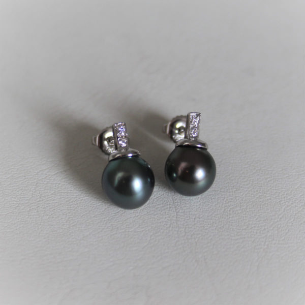 Boucles d'oreilles Or 750 Perles de Tahiti & Diamant