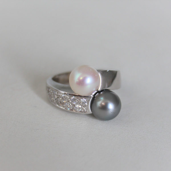 Bague Toi et Moi en Or 18k Perles & Diamants