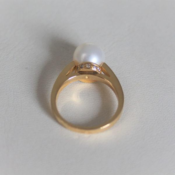 Bague Or Jaune 18k Perle De Culture & Diamants