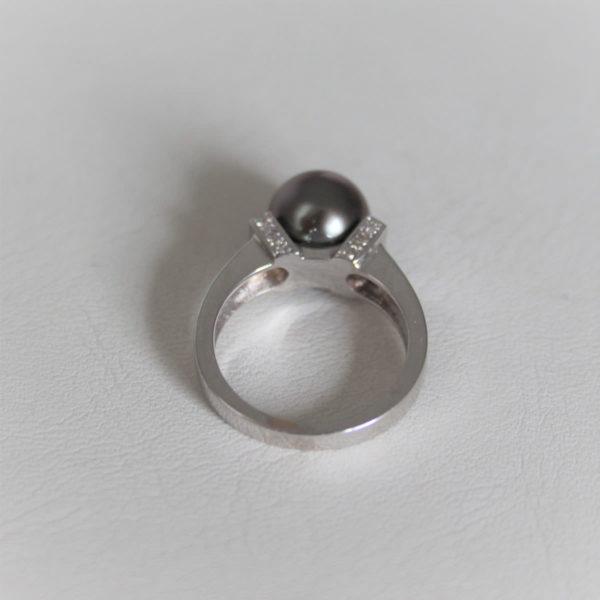 Bague Or Gris 18k 750 Perle Diamants  0.20CTS- 6.20g