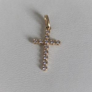 Pendentif Religieux Croix Or Jaune 750/18k Zirconium