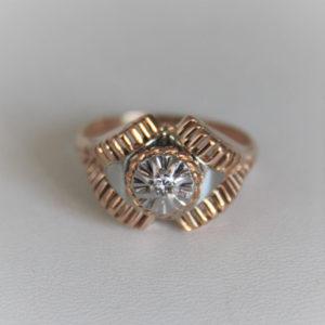 Bague Vintage Or 750 18k Diamant 0.10cts 5.7grs - 63