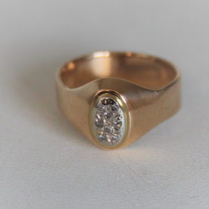 Bague Vintage Or 18K 750 Diamants - 4.8grs- 53