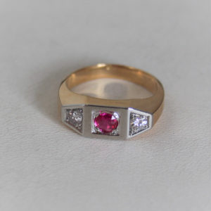 Bague Vintage Or 18k 750 Rubis/Diamant 7.7grs -54