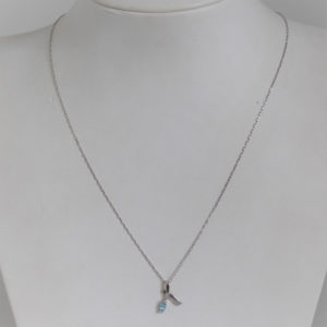 Collier Or 750 Pendentif Aigue Marine 1.3grs