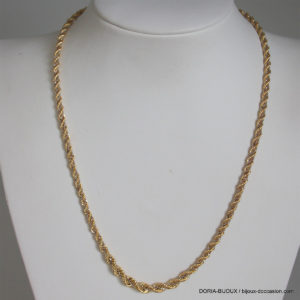 Collier or bicolore 750 maille corde- 9.10grs- 45grs