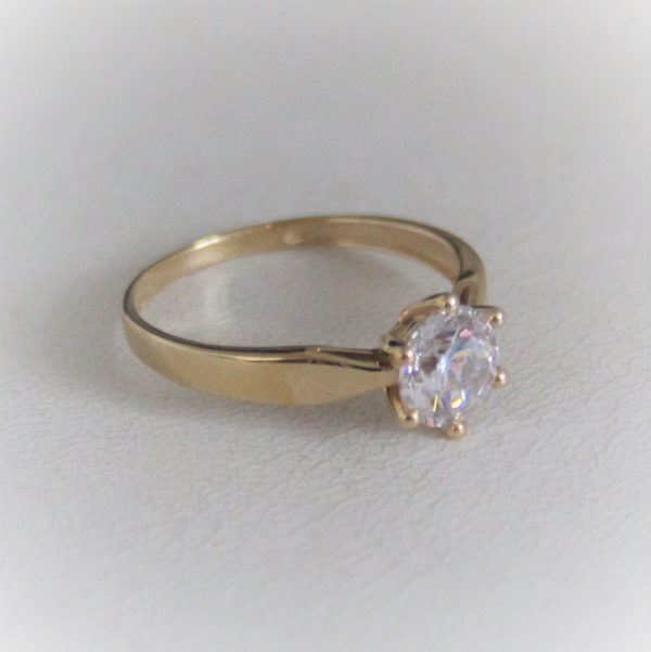 Bague solitaire or 18k 750 jaune oxyde- 2grs- 54 -