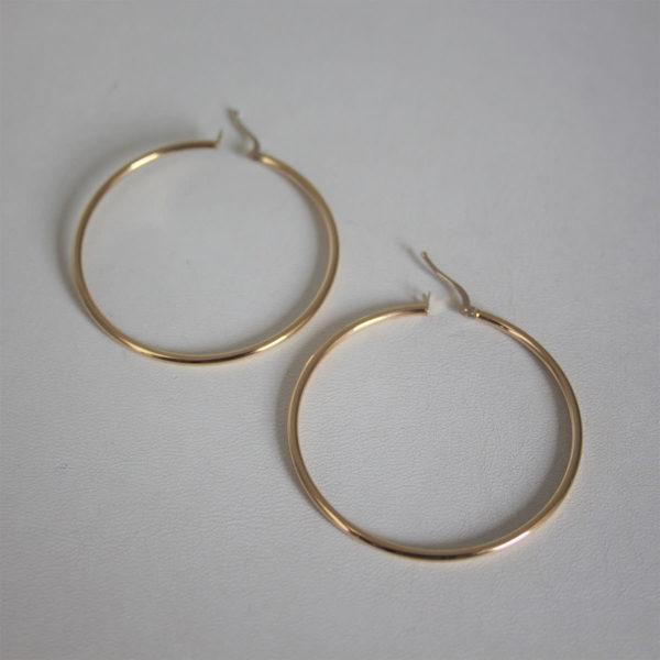Boucles d'oreilles créoles or jaune 18k 750- 2.75grs