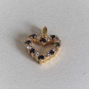 Pendentif Cœur Or 750 18k Saphirs/Diamants -1.68grs