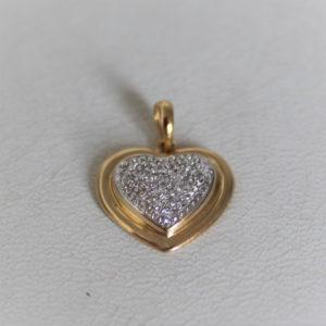Pendentif Cœur Or Bicolore 18k 750 Diamant - 1.42gr