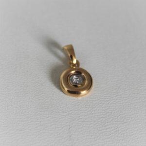 Pendentif Or Bicolore 18k 750 Diamant - 0.97grs