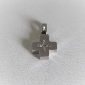 Pendentif Croix Or Gris 18k 750 Diamants - 2.6grs