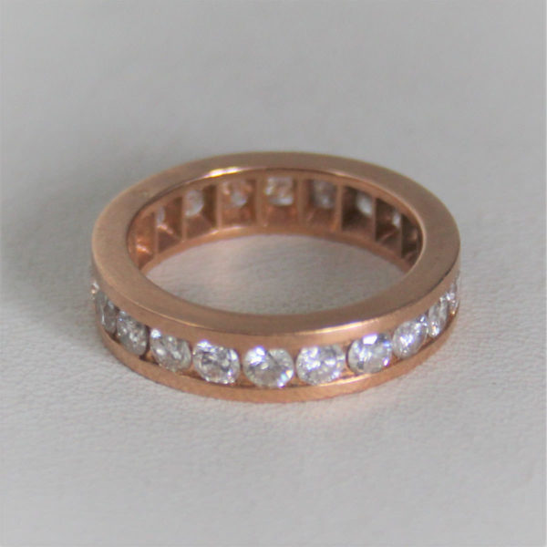 Bague Alliance 22 Diamants Or Rose 18k 750 - 5.57grs