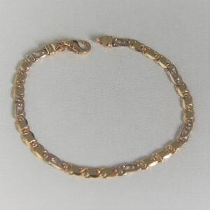 Bracelet Or Bicolore 18k 750 Maille Marine -8.80grs