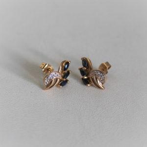 Boucles d'Oreilles Or 18k 750 Saphirs & Diamants -