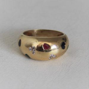 Bague Cœur  Or 18K Diamants & 3 Précieuses - 5.12gr