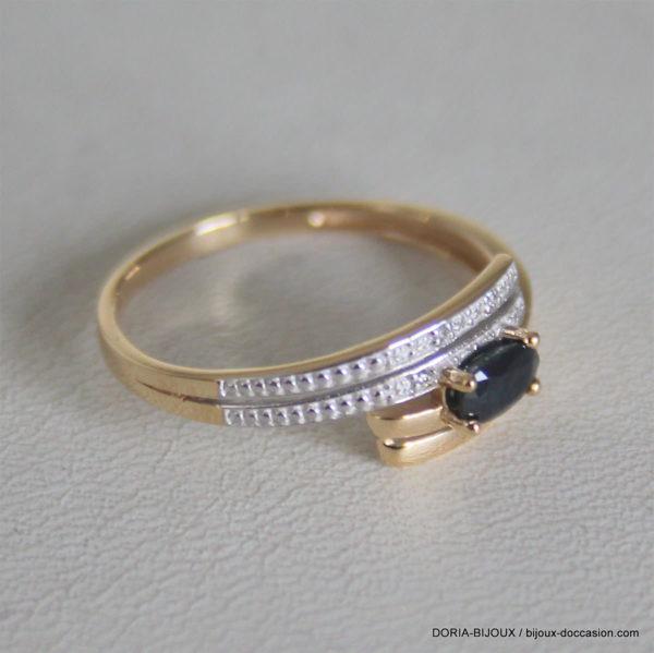 Bague Or Bicolore 18k 750 Saphir Diamant - 1.80grs -