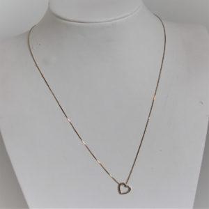 Collier Cœur Or Jaune 18k, 750/000 - 1.6grs -61cm