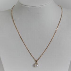 Collier Or 18k 750 Pendentif Perle - 45cm - 3.8grs
