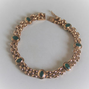 Bracelet Or Jaune 18k, 750 Emeraudes - 16grs