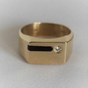 Chevalière Or 18k 750 Diamant Onyx 6.3grs
