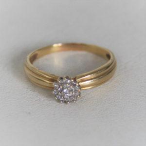 Bague Choux Or Bicolore 18k 750 Diamants - 2.60grs - 56