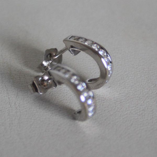 Boucles d'Oreilles Demi Créoles Diamants Or Gris 750