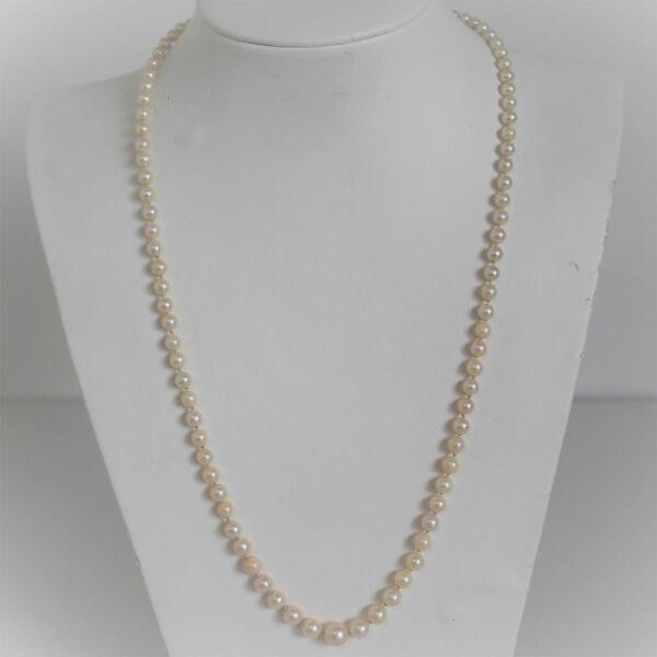 Collier Vintage Fermoir Or 18k 750 Perles - 52cm