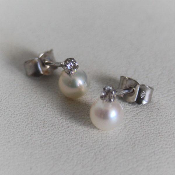 Boucles d'Oreilles Or 18k Perles & Oxydes- 1.3grs