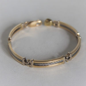 Bracelet  Or 750 18k & Acier  - 18cm - 16.8grs