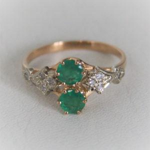 Bague Or 18k 750 Emeraudes & Diamants 2.8grs - 55